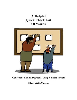 Free Helpful Checklist of Blends, Digraphs and Vowel Words