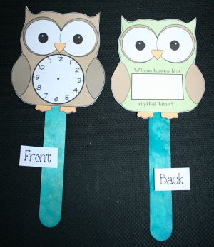 Telling Time Owl Clock Paddles