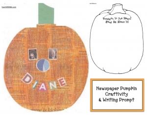 Newsprint Pumpkins Writing Prompt Craftivity