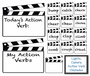 Lights Camera Action Verb Charades