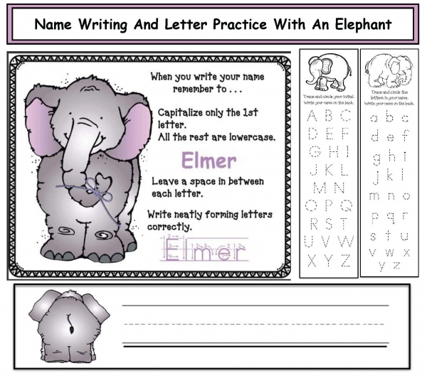 Name Writing & Letter Practice With An Elephant