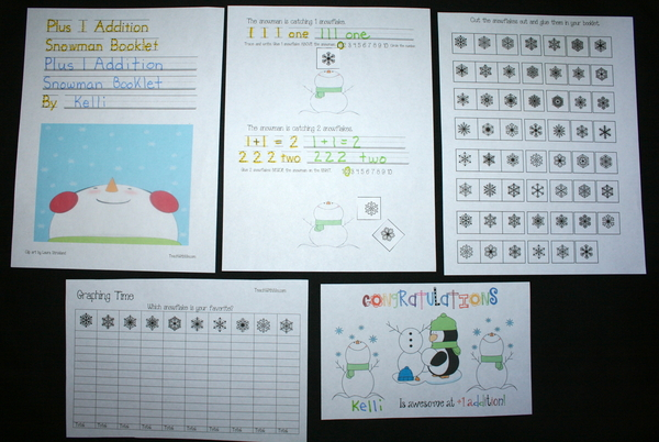 Plus 1 Addition Snowman Booklet