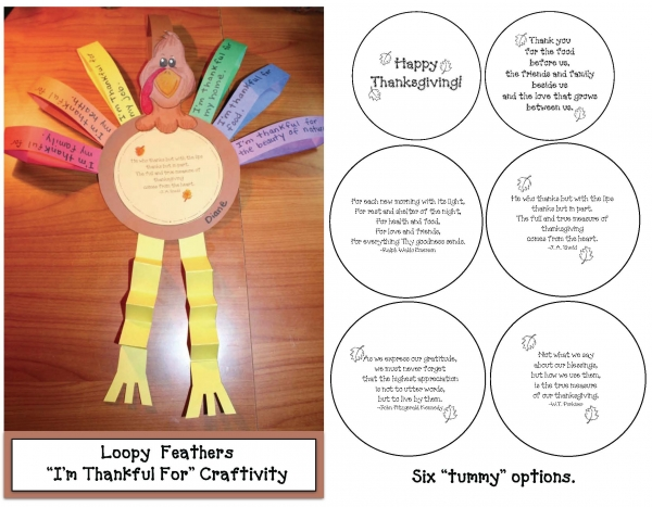 Thankful Loopy Feathers Writing Prompt Craftivity