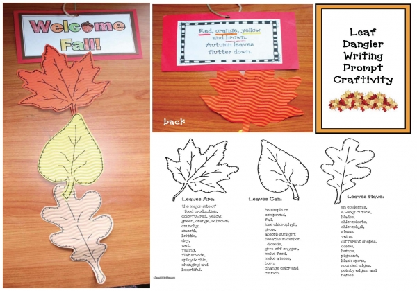 Welcome Fall Leaf Dangler Writing Prompt Craftivity