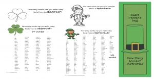 St. Paddy's How Many Words Activities