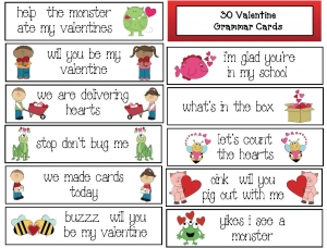 Thirty Valentine Grammar Cards