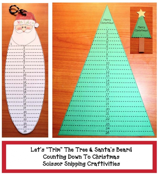 Let's Trim the Tree and Santa's Beard Countdown Craftivity