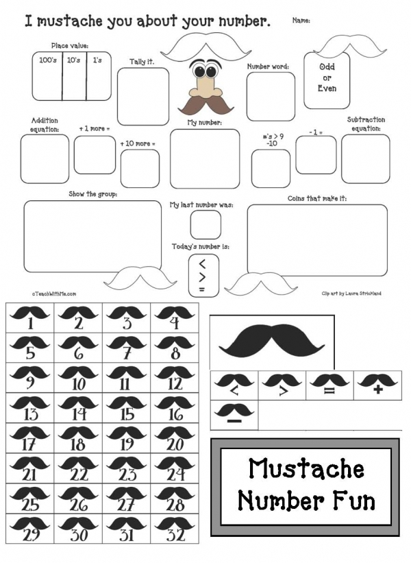 Mustache Math Graphic Organizer