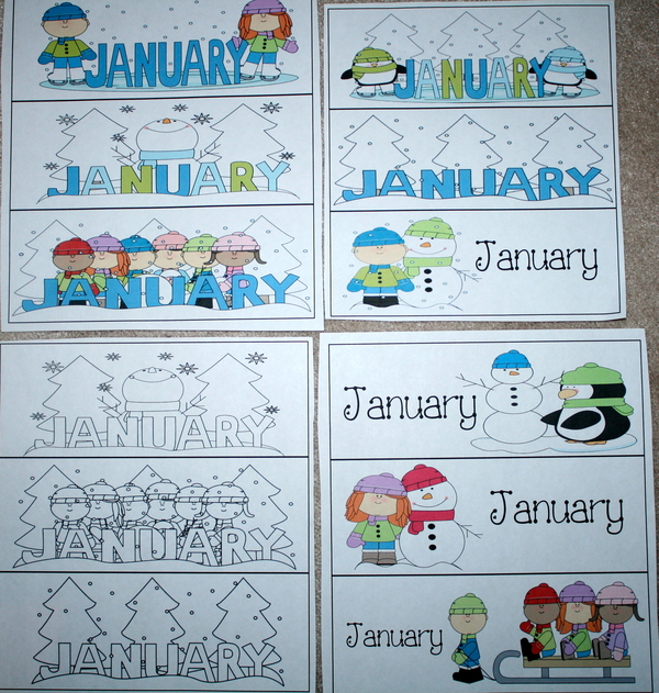Calendar Cards For January