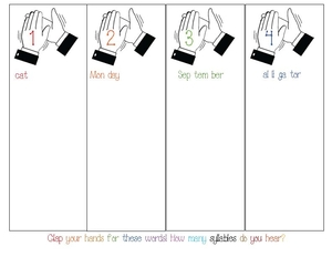 Clap Word Syllables Anchor Chart