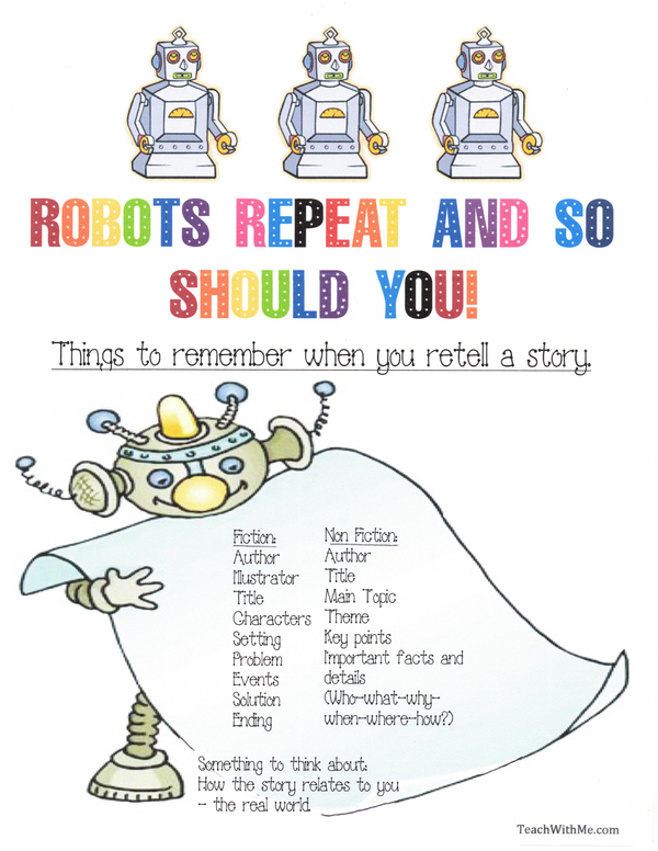 Robots Repeat Retelling A Story Anchor Chart