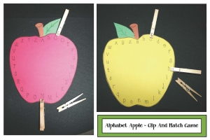 Alphabet Apple Clothespin Matching Game