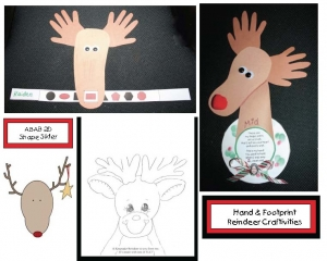 Reindeer Hand and Foot Print Crafts