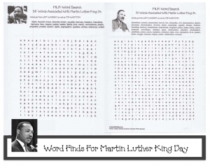 Martin Luther King Word Searches