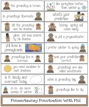 Punxsutawney Punctuation With Phil Groundhog Day Activity