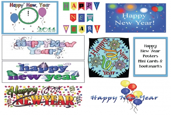 Happy New Year Bookmarks, Mini Cards & Posters