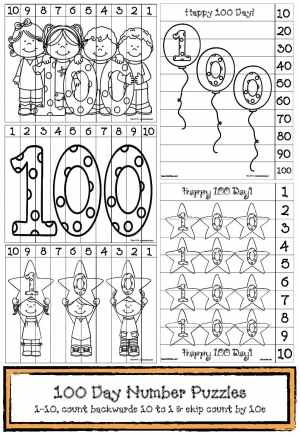 100 Day Number Puzzles to Color