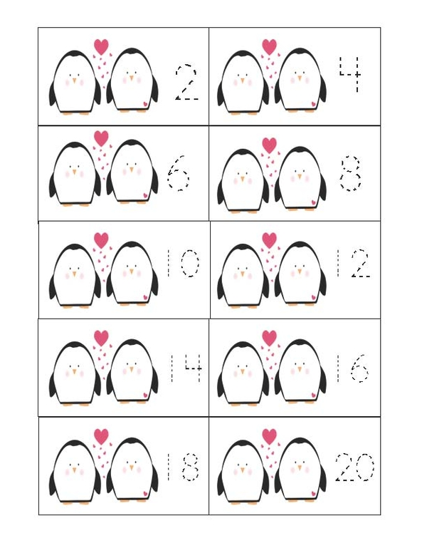 Penguin Count By 2's Cards