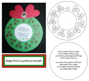 Finger Print Countdown Wreath