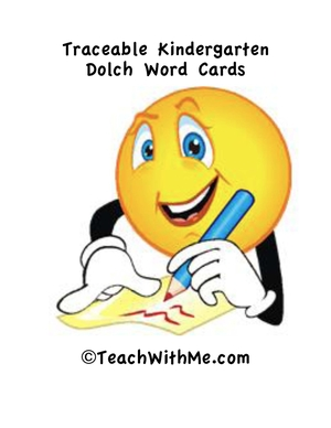 Traceable Kindergarten Dolch Word Cards and Activities
