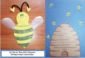 My Mom Is Bee-utiful Writing Prompt Craftivity