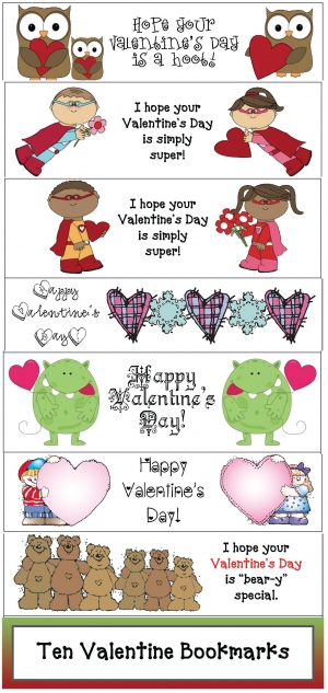 Ten Valentine Bookmarks