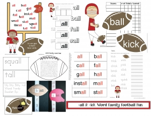-ick and -all Word Family Football Fun