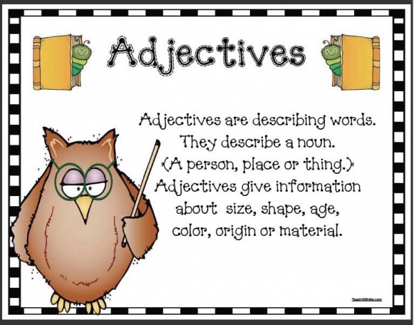 Wise Owl Adjective Anchor Chart Poster