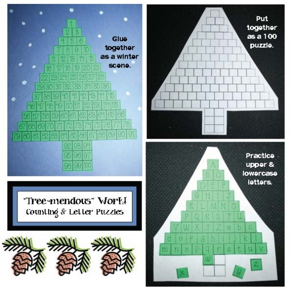 """Tree-mendous"" Work Letter and Number Puzzles"