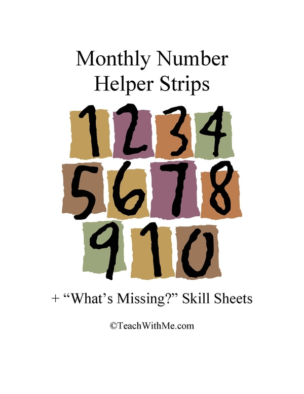 Monthly Number Helper Strips