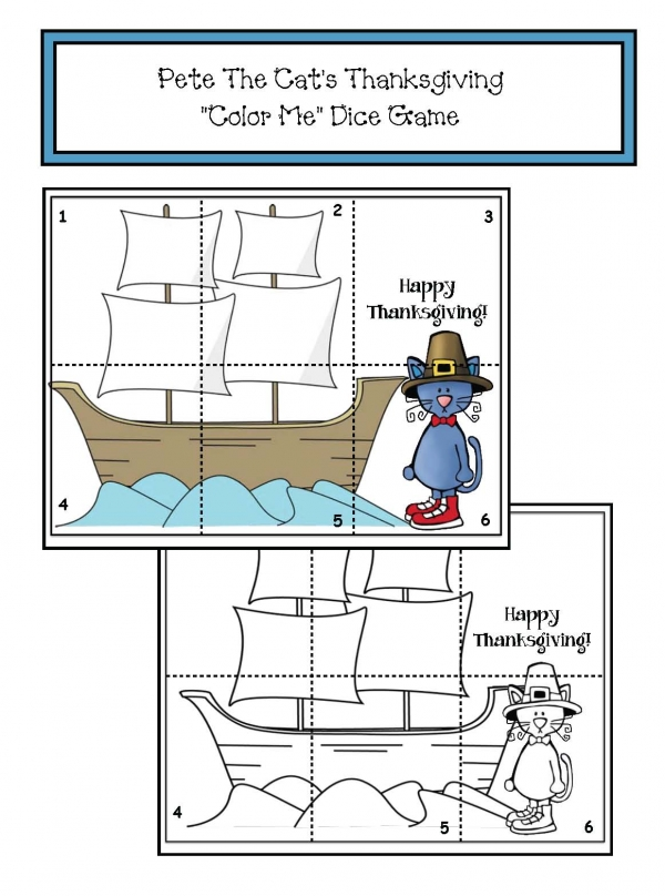 Pete The Cat's Thanksgiving Dice Game Puzzle