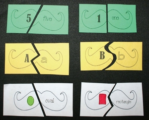 Mustache Alphabet,Number and Shape Puzzles