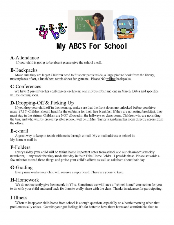 My ABC's Of School Information Sheet