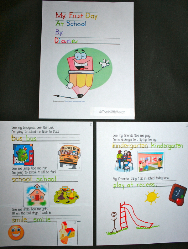 My First Day Of School Easy Reader booklet PK-1st