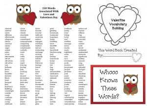 Valentine Vocabulary Words