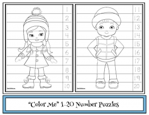 """Color Me"" Winter Number Puzzles"