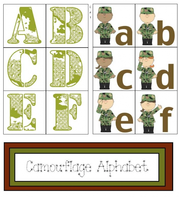 Camouflage Alphabet Card Activities