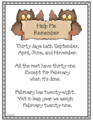 30 Days Hath September Poster Poem