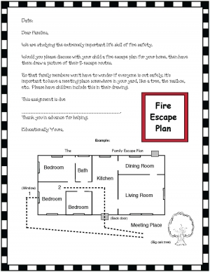 Fire Escape Plan Letter Home