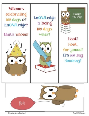 100 Day Owl Bookmarks