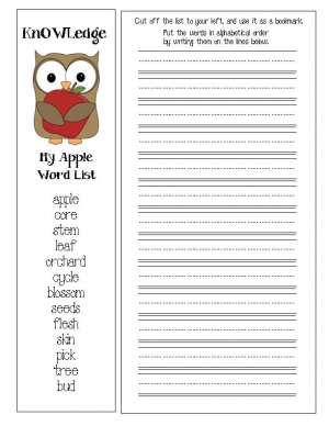 Apple Words Bookmark