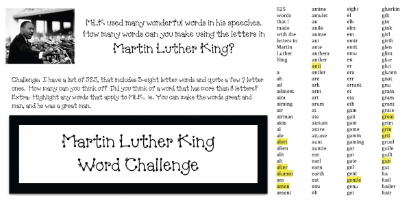 Martin Luther King Word Challege