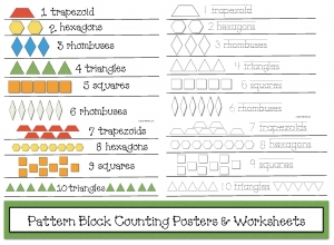 Pattern Block Counting Posters & Worksheets