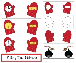 Mitten Telling Time Cards