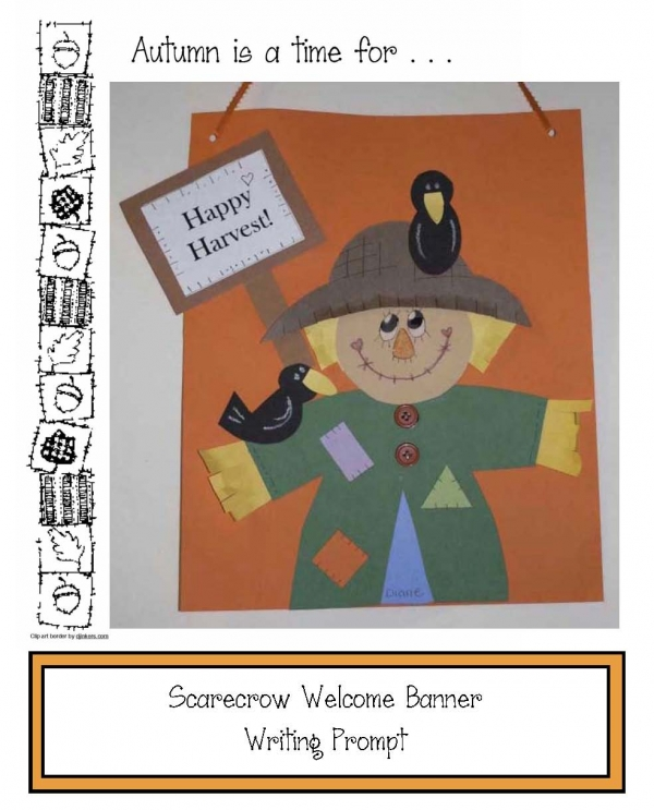 Happy Harvest Scarecrow Banner Writing Prompt